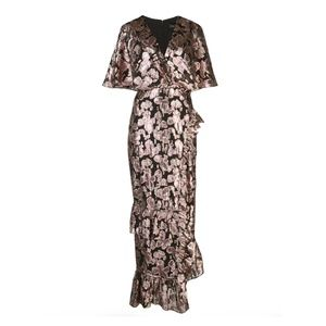 Saloni Rose Fringe Applique Silk Blend Midi Dress